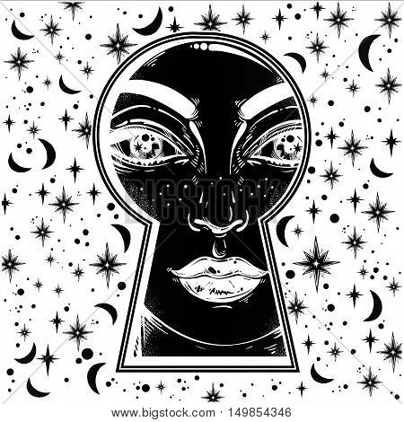 Beautiful girl peeping through the keyhole. Graphic outline drawing in Noir retro style with dreamy stars, moons on the background. Isolated vector illustration.Trendy print.