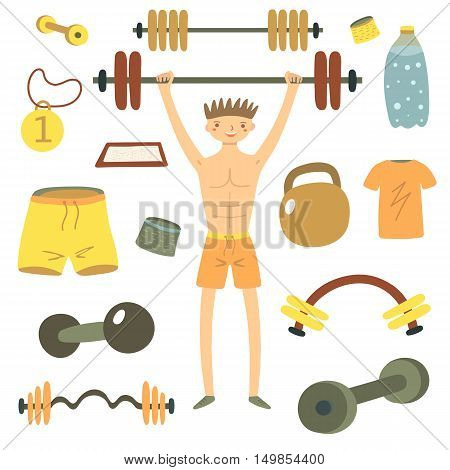Hand drawn flat style man holding barbell. Sport objects set including shorts t shirt medal dumbbell wristband water bottle talc container. Gym objects icons