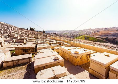 Mount of Olives and the old Jewish cemetery in Jerusalem, Israel.