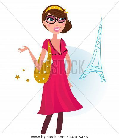 Sexy Woman On Shopping In Paris City.