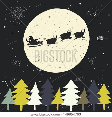 Cute hand drawn doodle Christmas background postcard with flying santa sledge deers full moon sky christmas trees stars. New Year cover flyer