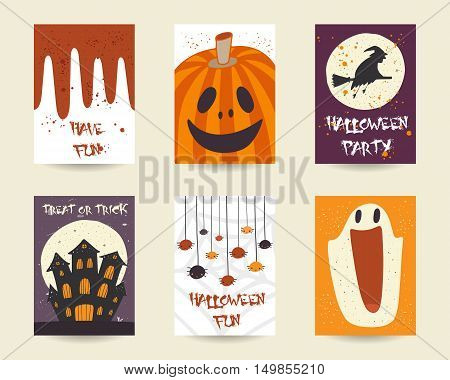 Cute hand drawn doodle halloween objects collection including pumpkin spider witch broom stick castle moon blood ghost net. Halloween postcards covers tags icons set decorative elements