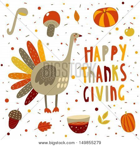 Cute hand drawn doodle postcard card with turkey pumpkin mushroom acorn punch leaves apple. Happy thanksgiving backgroud Autumn cover