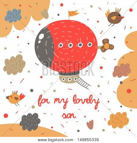 Cute hand drawn postcard with zeppelin birds clouds sky ladder propeller polka dots abstract elements. For my lovely son background for children. Baby shower cover in cartoon style for boy