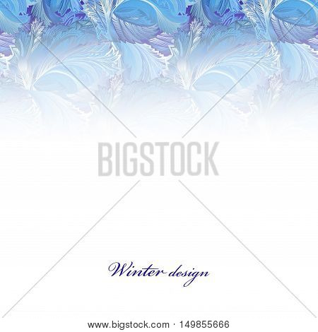 Winter holyday blue frost background. Blue, cyan and white horizontal top design banner with snow hoar frost ice for winter holiday template. Frozen glass decor. Vector illustration stock vector.