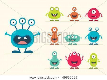 Cute Colourful Creature Set - vector illustration