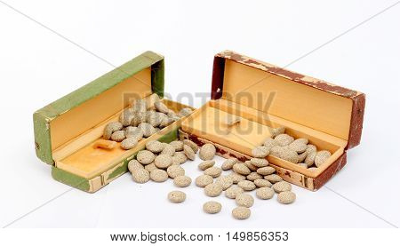 picture of a Medicine herbal pills and vintage watch box