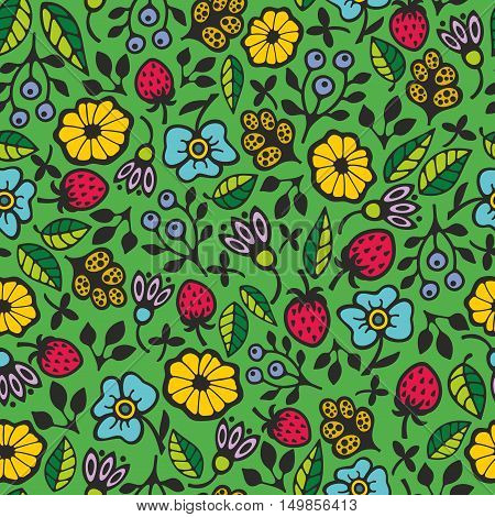 Seamless pattern with garden flowers. Creative floral background in vector. Retro endless illustration.