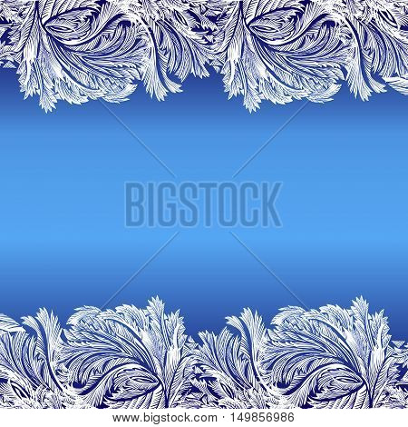 Horizontal frame frozen glass decor. Winter holyday blue frost background. Blue, cyan and white design banner with snow hoar frost ice for winter holiday template. Vector illustration stock vector.