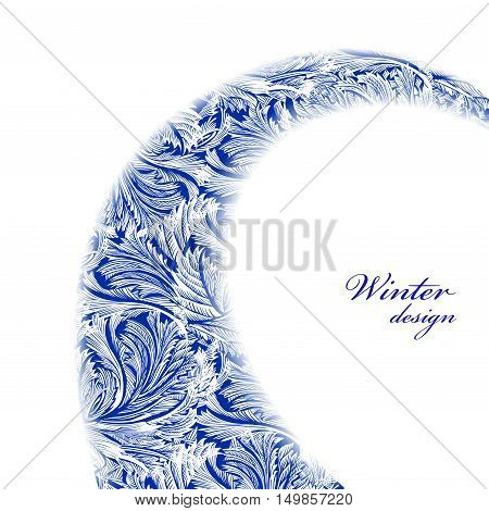 Swirl frozen glass decor. Winter holyday blue frost background. Blue, cyan and white swirl design banner with snow hoar frost ice for winter holiday template. Vector illustration stock vector.