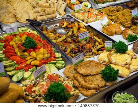 Large assortment of dishes on the counter dining room