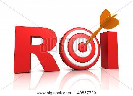 return on investment - roi 3d illustration isolated on white background
