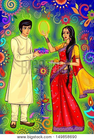 Vector design of looking through sieve during Karwa Chauth celebration in India