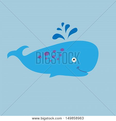 Funny sperm whale on a blue background