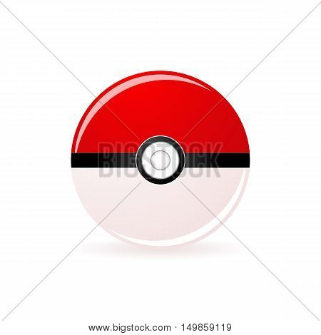Vector illustration pokeball isolated on white background.