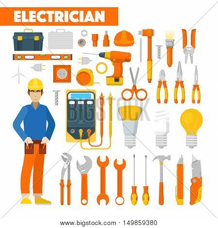 Profession Electrician Icons Set with Voltmeter and Tools. Vector illustration