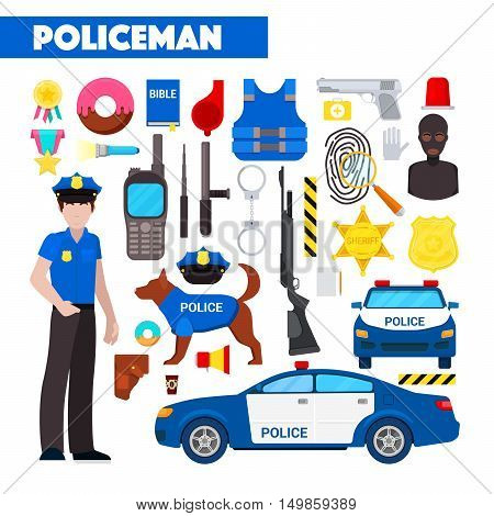 Profession Policeman Vector Icons Set with Police Car and Handcuffs