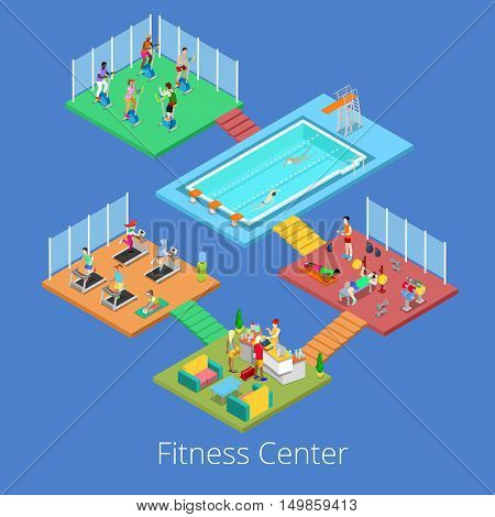 Isometric Gym Fitness Club Sport Center Interior with Cardio Room, Gym and Water Pool. Vector illustration