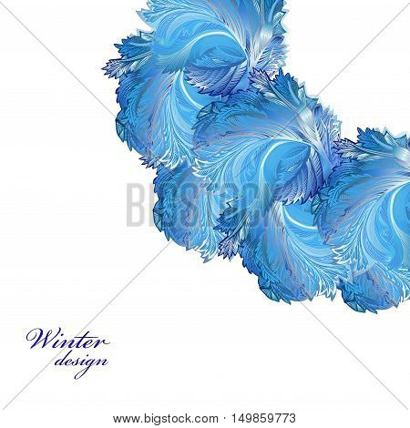 Circle frozen glass decor. Winter holiday blue frost background. Blue, cyan and white corner design banner with snow hoar frost ice for winter holiday template. Vector illustration stock vector.