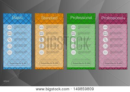 Four banner for the tariffs and price lists. Vector design for web app. Web elements. Plan hosting.