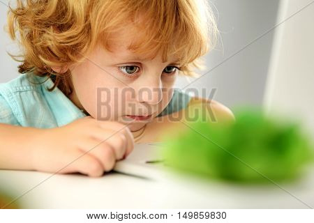learning and next generation concept, selective focus of cute preschooler sitting