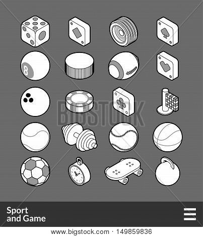 Isometric outline icons, 3D pictograms vector set - Sport and game symbol collection