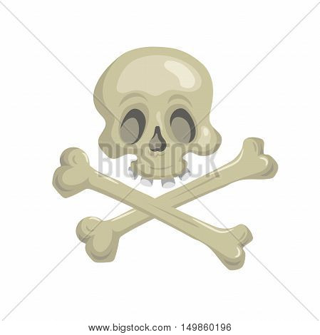 Cartoon scull with crossbones. Trendy pirates and halloween party vector icon.