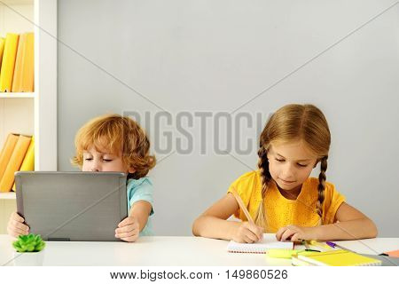 learning and next generation concept, intelligen kids studying in elementary school