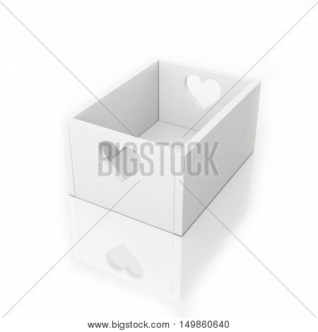 3D white empty box isolated on white with hearts