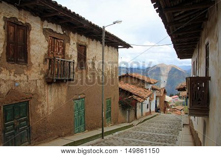 Typical houses in the peruvian mountains in the village of Pallasca in northern Peru near Tablachaca Canyon and Pato Canyon north of Cordillera Blanca.