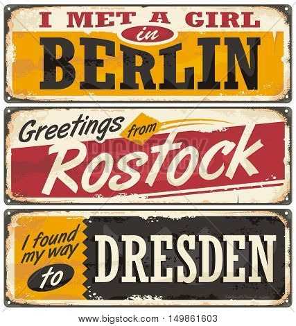 Germany cities and travel destinations. Retro metal plates set on old damaged background. Travel theme.