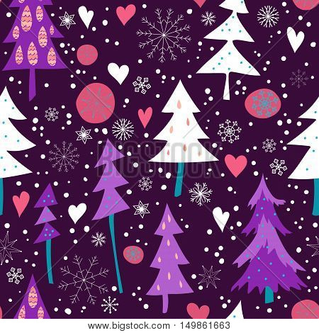 Seamless Spruce forest with snowflakes and hearts pattern. Hand drawn winter holiday design for Christmas and New Year.