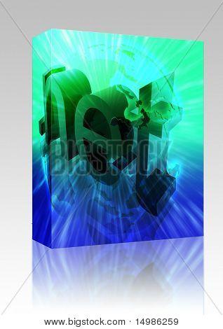 Paquete de software Dot net internet web url Asia ilustración en todo el mundo