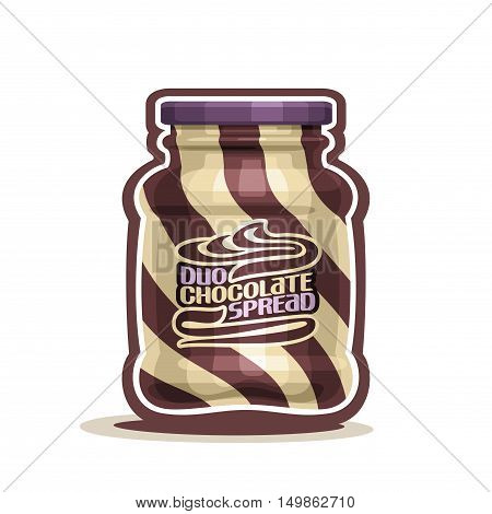 Vector logo Duo swirl Chocolate Spread Jar with label, container jar with brown hazelnut milk cream snack with purple cap, pot butter nuts dessert spread paste with lid for breakfast isolated on white