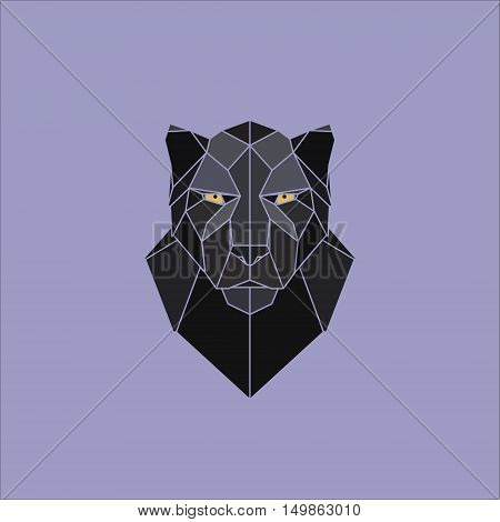 Symmetrical geometric vector illustration black panther. Made in polygonal style.