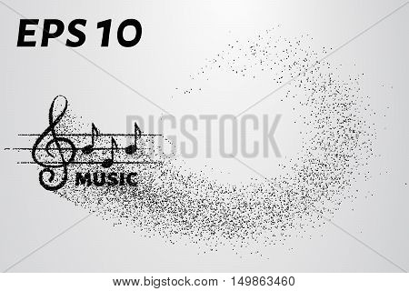 Treble clef and notes of the particle. Music logo made of small circles.