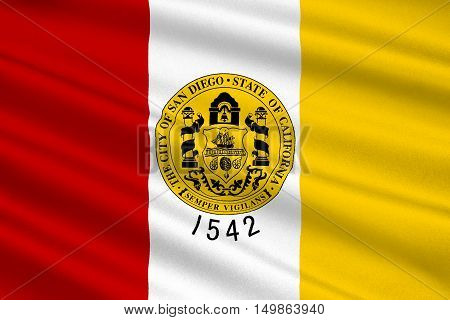 Flag of San Diego is a major city in California United States. 3D illustration
