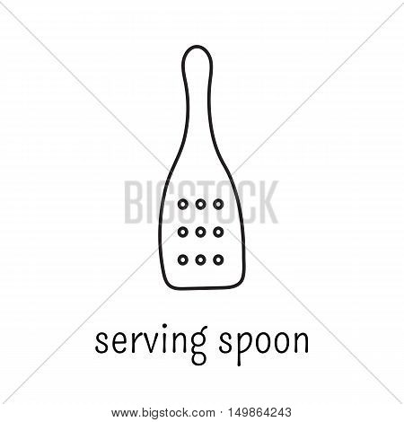Hand drawn thin line icon, vector logo template illustration. Serving spoon isolated symbol. Black on white pictogram. Simple mono linear modern design.