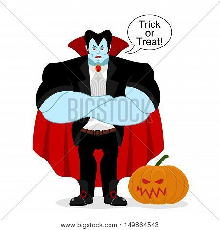 Dracula And Pumpkin. Serious Powerful Vampire Guards Vegetable. Strong Demon Crossed His Arms. Red C