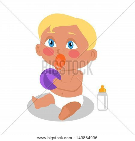 Baby sitting on the floor with a ball. New born child. Education of a child during the first year. Vector