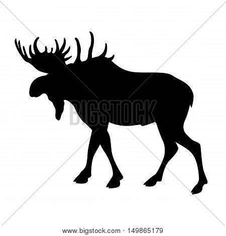 elk vector illustration black silhouette profile side