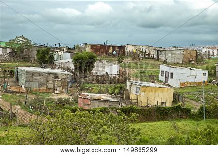 settlement of corrugated iron homes of poor people in south africa