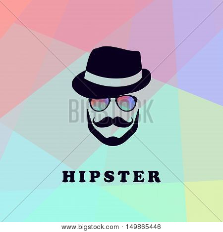 Logo with a man in a stylish hat with a mustache and colorful glasses Hipster logo. Vector illustration.