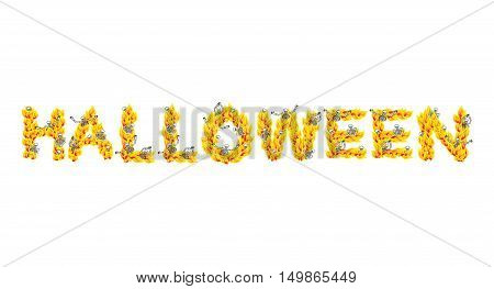 Fire Halloween Letters. Skeletons In Hell. Sinners In Inferno. Satanic Symbol. Hellish Thick