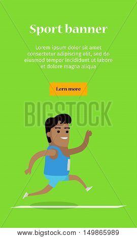 Athletics sport template. Happy cartoon runner. Vector illustration