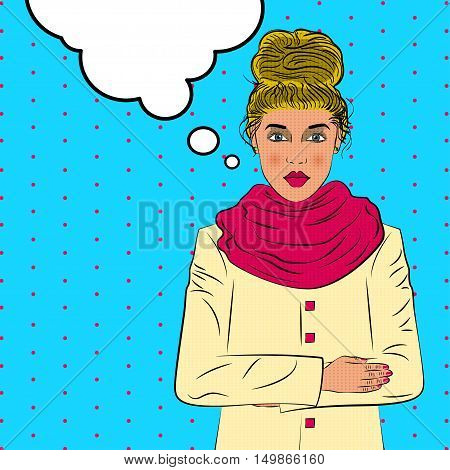 Romantic young woman cold weather pop art retro style. Loneliness and feelings. Beautiful man and love. Autumn winter weather.