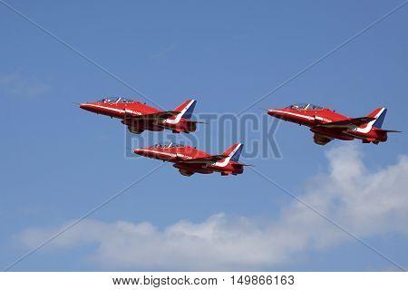 VOLKEL, NETHERLANDS - JUNE 15: Fighter jets during the Royal Netherlands Air Force Day