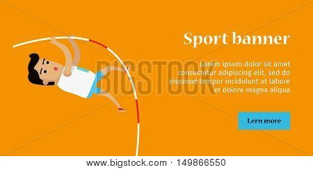Pole vault sport template. Active way of life concept. Competitions, achievements, best results. Person uses long, flexible pole as an aid to jump over a bar. Vector