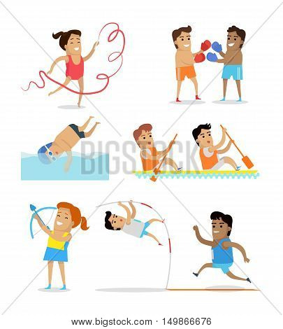 Sports icons set. Running, swimming, gymnastics, boxing, athletics, rowing, archery. Vector