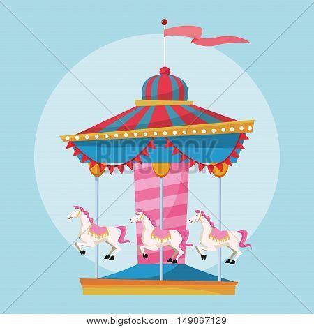 Carousel icon. Carnival festival fair circus and celebration theme. Colorful design. Vector illustration